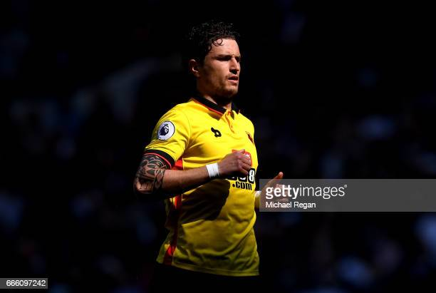 Daryl Janmaat of Watford looks on prior to the Premier League match between Tottenham Hotspur and Watford at White Hart Lane on April 8 2017 in...