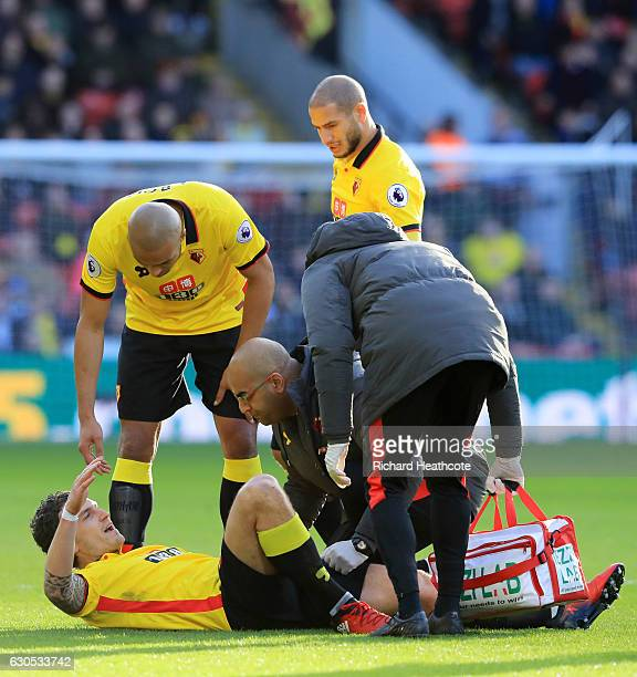 Daryl Janmaat of Watford receives assistance for an injury during the Premier League match between Watford and Crystal Palace at Vicarage Road on...