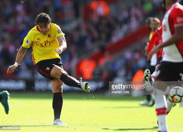 Daryl Janmaat of Watford scores his sides second goal during the Premier League match between Southampton and Watford at St Mary's Stadium on...