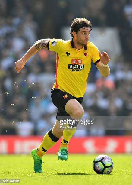 Daryl Janmaat of Watford takes the ball forward during the Premier League match between Tottenham Hotspur and Watford at White Hart Lane on April 8...