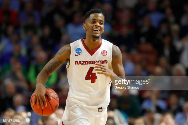 Daryl Macon of the Arkansas Razorbacks celebrates late in the second half against the Seton Hall Pirates in the first round of the 2017 NCAA Men's...