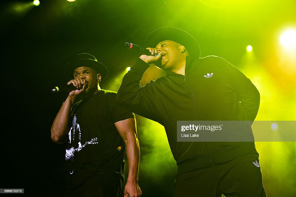 Daryl McDaniels and Joseph 'Rev Run' Simmons of RUNDMC perform at Sands Steel Stage at PNC Plaza on August 6 2016 in Bethlehem Pennsylvania