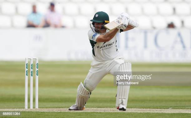 Daryl Mitchell of Worcestershire bats during the Specsavers County Championship division two match between Northamptonshire and Worcestershire at The...