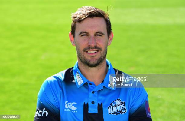 Daryl Mitchell of Worcestershire County Cricket Club poses in the NatWest T20 Blast kit during the Worcestershire County Cricket photocall held at...