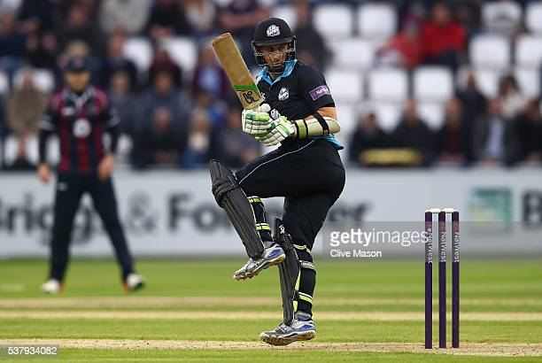 Daryl Mitchell of Worcestershire in action batting during the NatWest T20 Blast match between Northamptonshire and Worcestershire at The County...