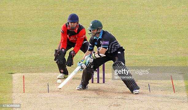 Daryl Mitchell of Worcestershire plays a shot during the NatWest T20 Blast match between Durham Jets and Worcestershire Rapids at The Emirates Durham...