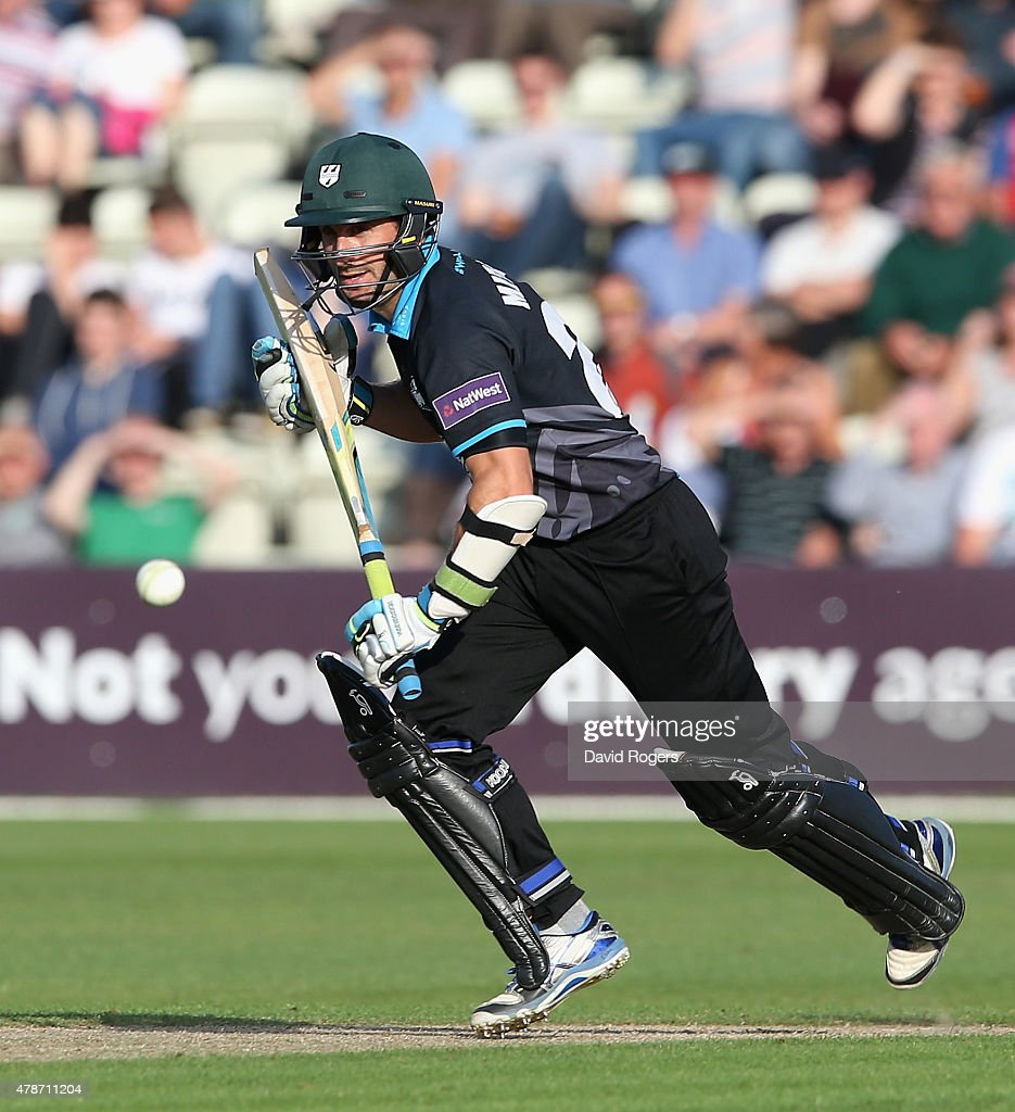 Daryl Mitchell of Worcestershire plays the ball for four runs during the NatWest T20 Blast match between Worcestershire Rapids and Northamptonshire...