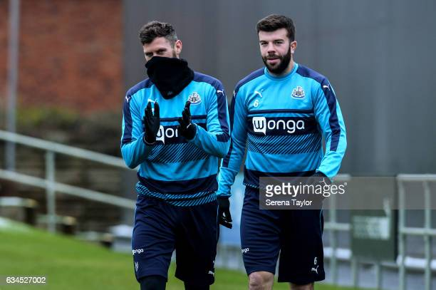 Daryl Murphy and Grant Hanley walk outside during the Newcastle United Training Session at The Newcastle United Training Centre on February 10 2017...