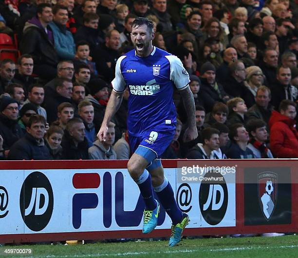 Daryl Murphy of Ipswich celebrates after scoring the first goal of the game during the Sky Bet Championship match between AFC Bournemouh and Ipswich...