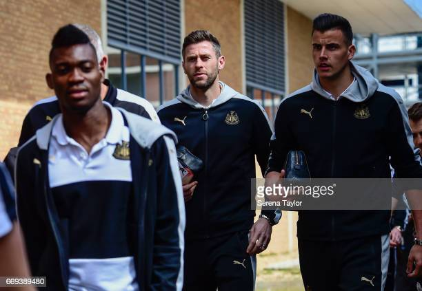 Daryl Murphy of Newcastle United and Goalkeeper Karl Darlow arrive at Portman Road prior to kick off of the Sky Bet Championship Match between...