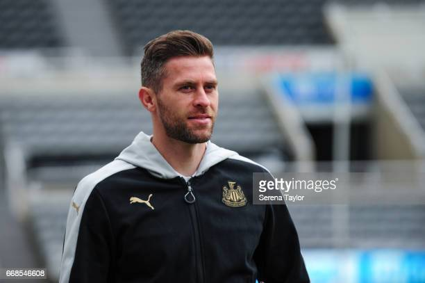 Daryl Murphy of Newcastle United arrives prior to kick off of the Sky Bet Championship Match between Newcastle United and Leeds United at StJames'...