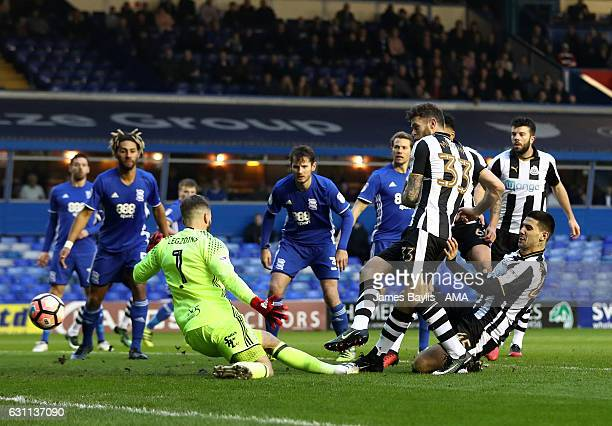 Daryl Murphy of Newcastle United scores a goal to make it 01 during the Emirates FA Cup Third Round match between Birmingham City and Newcastle...