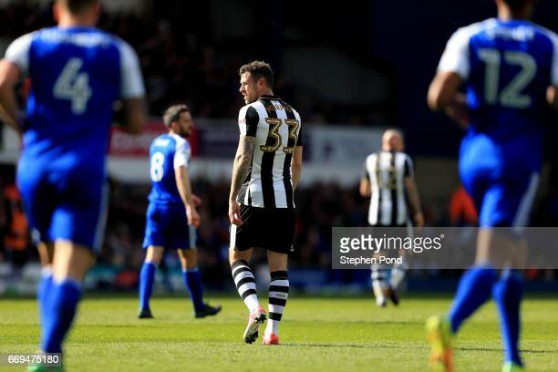 Daryl Murphy of Newcastle United stands dejected after his side concede a goal during the Sky Bet Championship match between Ipswich Town and...