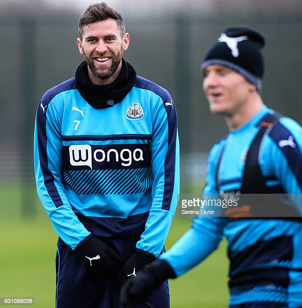 Daryl Murphy smiles during Newcastle United Training Session at The Newcastle United Training Centre on January 6 2017 in Newcastle upon Tyne England