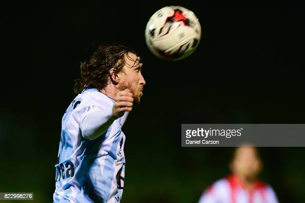 Daryl Platten of Sorrento FC headers the ball during the FFA Cup round of 32 match between Sorrento FC and Canberra Olympic at Percy Doyle Reserve on...