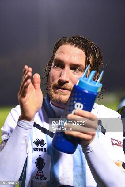 Daryl Platten of Sorrento FC thanks the crowd after the win during the FFA Cup round of 32 match between Sorrento FC and Canberra Olympic at Percy...