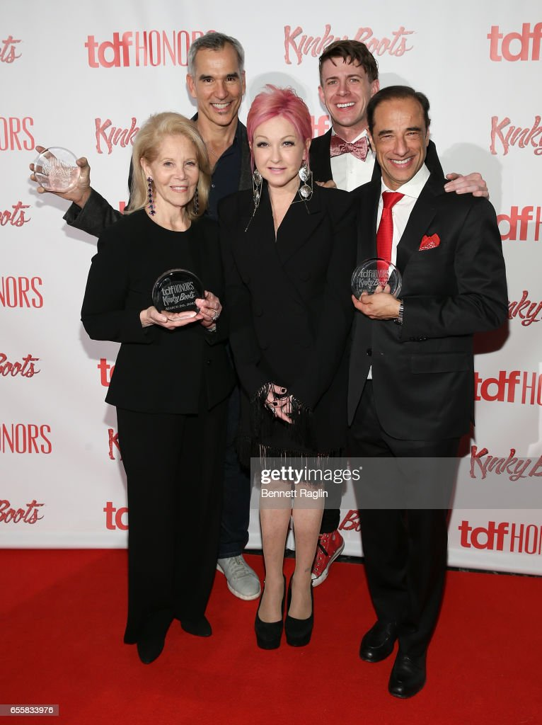 Daryl Roth, Cyndi Lauper, Hal Luftig, (back row) and Jerry Mitchell attend the TDF Honors Broadway's 'Kinky Boots' - Reception at Marriott Marquis Times Square on March 20, 2017 in New York City.