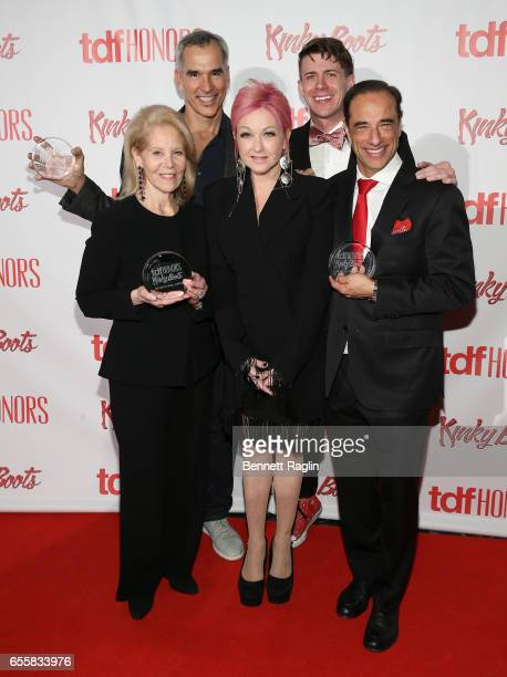 Daryl Roth Cyndi Lauper Hal Luftig and Jerry Mitchell attend the TDF Honors Broadway's 'Kinky Boots' Reception at Marriott Marquis Times Square on...