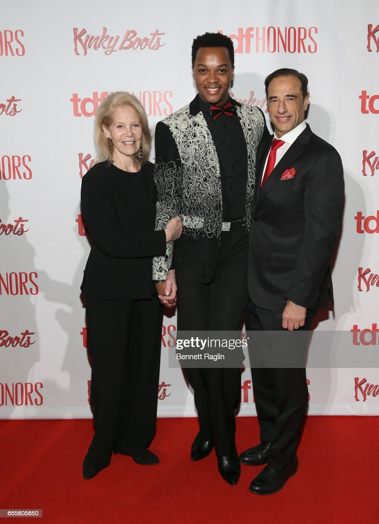 Daryl Roth, J. Harrison Ghee, and Hal Luftig attend the TDF Honors Broadway's 'Kinky Boots' - Reception at Marriott Marquis Times Square on March 20, 2017 in New York City.