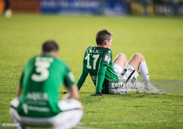 Daryl Smylie of Jonkopings Sodra dejected after the Allsvenskan match between Jonkopings Sodra IF and Ostersunds FK at Stadsparksvallen on November 5...