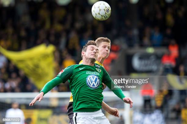 Daryl Smylie of Jonkopings Sodra jumps for a header with Joakim Nilsson of IF Elfsborg during the Allsvenskan match between IF Elfsborg and...