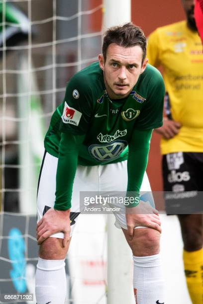 Daryl Smylie of Jonkopings Sodra looks dejected during the Allsvenskan match between IF Elfsborg and Jonkopings Sodra IF at Boras Arena on May 22...
