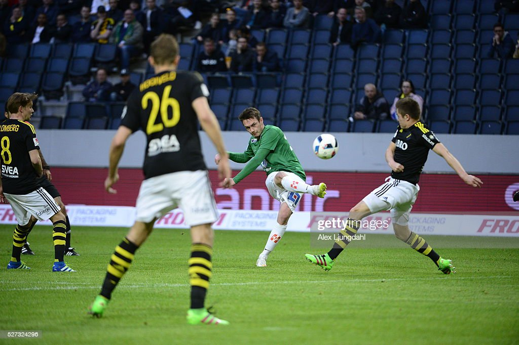 Daryl Smylie of Jonkopings Sodra shoots during the allsvenskan match between AIK and Jonkkoping Sodra IF at Friends arena on May 2, 2016 in Solna, Sweden.