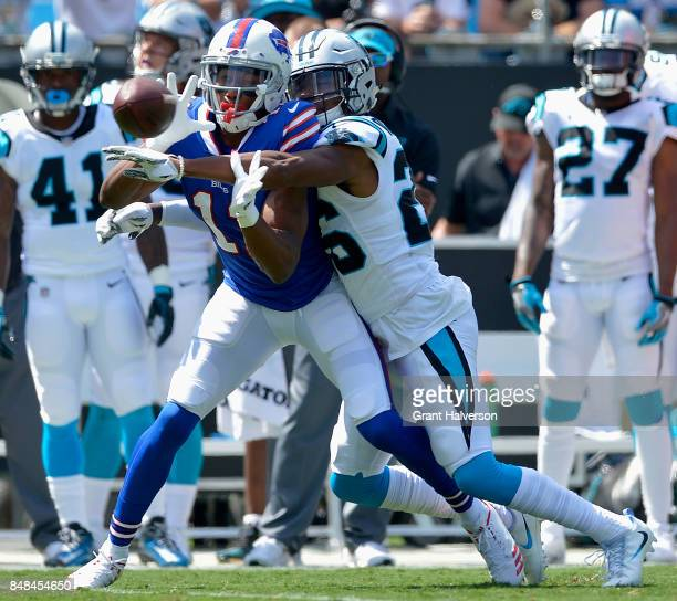 Daryl Worley of the Carolina Panthers breaks up a pass intended for Zay Jones of the Buffalo Bills during their game at Bank of America Stadium on...