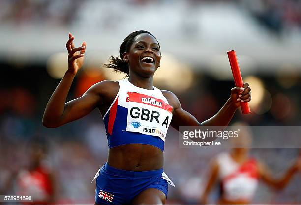 Daryll Neita of Great Britain celebrates after winning the womens 4x100m relay during Day One of the Muller Anniversary Games at The Stadium Queen...