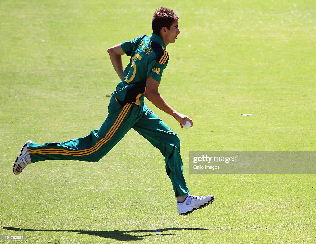 Daryn Dupavillion of South Africa runs in during the 2nd U/19 Youth One Day International match between South Africa and England at Bellville Cricket Club on February 15, 2013 in Cape Town, South Africa.