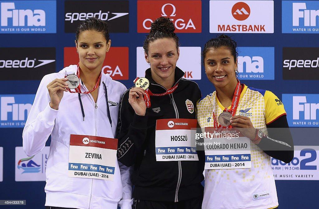 Daryna Zevina of Ukraine Katinka Hosszu of Hungary and Carolina Colorado Henao of Colobia celebrates on the podium after the Women's 200m Backstroke...