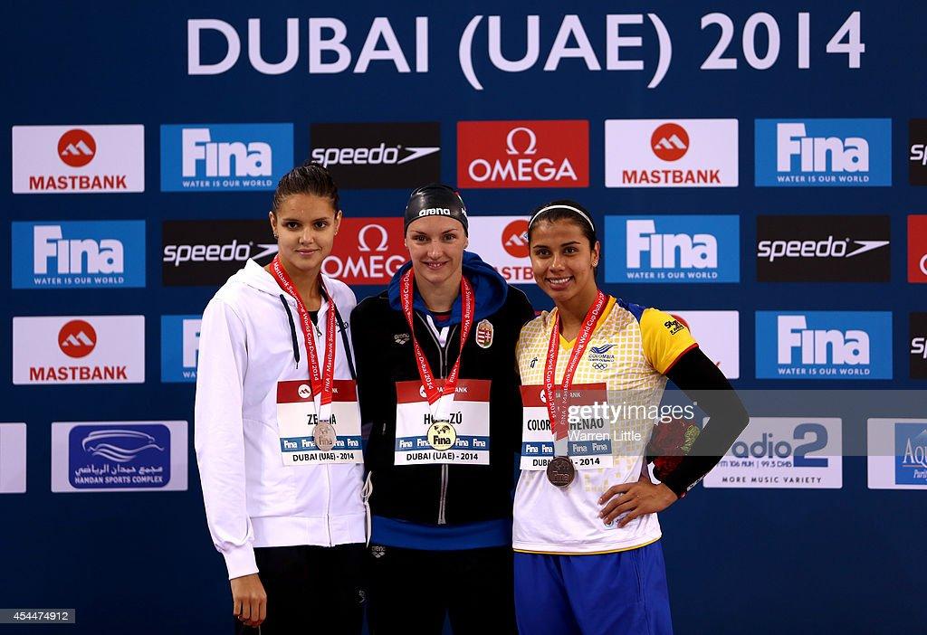 Daryna Zevina of Ukraine Ktinka Hosszu of Hungary and Carolina Colorado Henao of Columbia pose with their medals after the Women's 100m Backstroke...