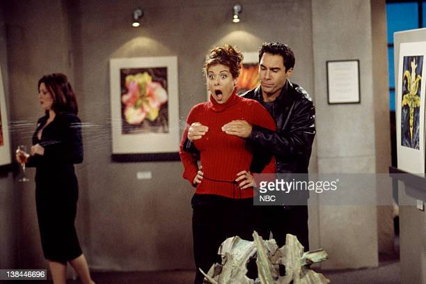 WILL GRACE 'Das Boob' Episode 3 Aired 11/2/99 Pictured Megan Mullally as Karen Walker Debra Messing as Grace Adler Eric McCormack as Will Truman