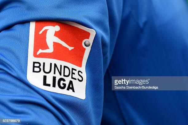 Das Bundesliga Logo auf dem Trikotaermel waehrend des Bundesligaspiels zwischen Bayer Leverkusen und SC Freiburg in der BayArena am 10 August 2013 in...