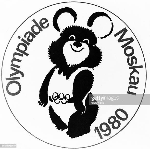Das Emblem mit dem Bären und Maskottchen 'Mischa' 1980