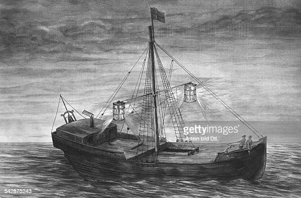Das erste Feuerschiff mit einfacher Kerzenlaterne in der Themsemündung von 1731 grafische Darstellung undatiert