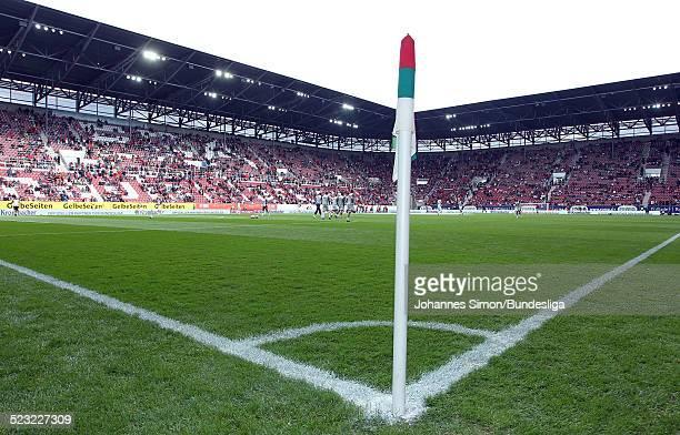 Das Spielfeld der ImpulsArena von der Eckfahne aus gesehen vor dem BundesligaRelegationsspiel zwischen dem FC Augsburg und dem 1 FC Nuernberg in der...