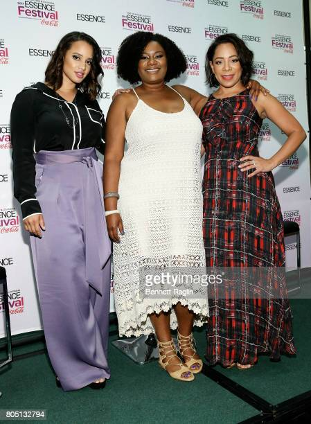 Dascha Polanco Adrienne C Moore and Selenis Leyva attend the 2017 Essence Festival Day 1 on June 30 2017 in New Orleans Louisiana