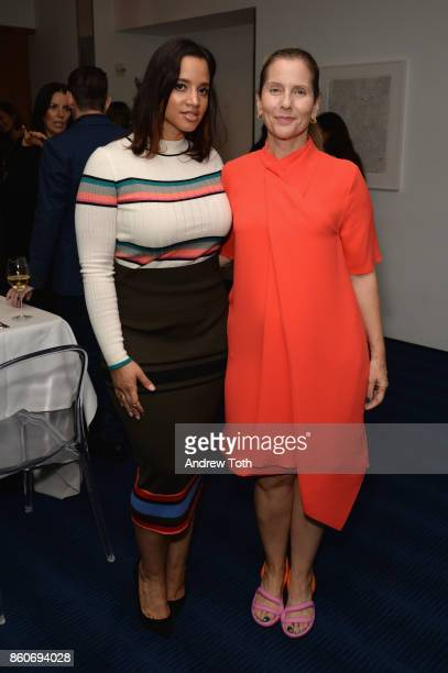 Dascha Polanco and Paola Antonelli attend as Harper's BAZAAR and THE OUTNETCOM Celebrate the opening of MoMA's Fashion Exhibit 'Is Fashion Modern' at...
