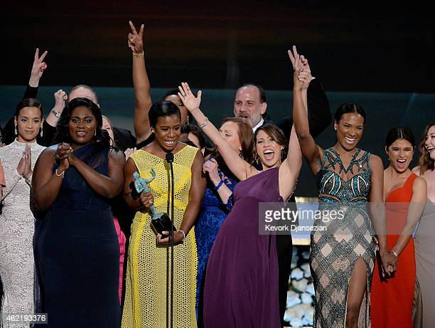 Dascha Polanco Danielle Brooks Uzo Aduba Elizabeth Rodriguez Vicky Jeudy and Diane Guerrero onstage at the 21st Annual Screen Actors Guild Awards at...