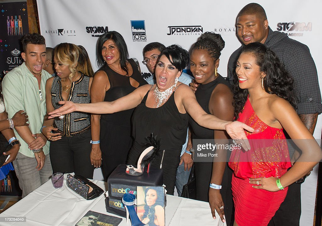 Dash, Shay Johnson, Angela 'Big Ang' Raiola, AJ Pagan, <a gi-track='captionPersonalityLinkClicked' href=/galleries/search?phrase=Renee+Graziano&family=editorial&specificpeople=7643222 ng-click='$event.stopPropagation()'>Renee Graziano</a>, Tiffany Bowen, Stephen Bowen and Guest attend <a gi-track='captionPersonalityLinkClicked' href=/galleries/search?phrase=Renee+Graziano&family=editorial&specificpeople=7643222 ng-click='$event.stopPropagation()'>Renee Graziano</a>'s Celebrity Dinner Party at Midtown 1015 on July 10, 2013 in New York City.