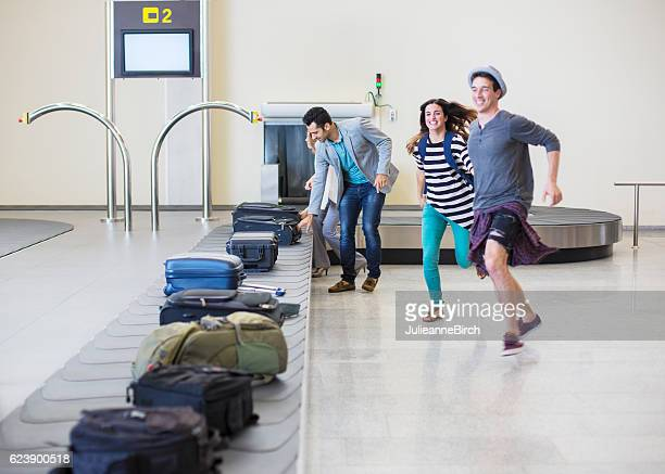 Dash to collect luggage in airport