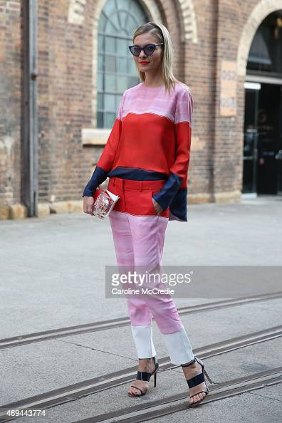 Dasha Gold wearing a Sportmax Max Mara set Mode Collective Shoes Sarahbag clutch Furla Mini and Prism glasses at MercedesBenz Fashion Week Australia...