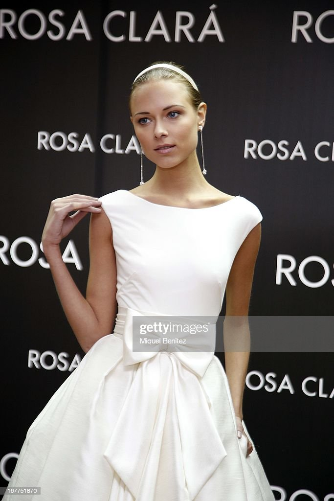 Dasha Kapusitna attends Rosa Clara's fitting room on April 29, 2013 in Barcelona, Spain.