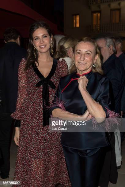 Dasha Zhukova and Mucia Prada attend the opening of Damien Hirst 'Treasures From The Wreck Of The Unbelievable' new exhibition on April 8 2017 in...