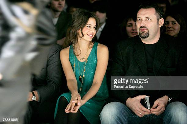 Dasha Zhukova and Russian Fashion Week General Director Alexander Shumsky sit in the front row during Vassa fashion show as part of Russian Fashion...
