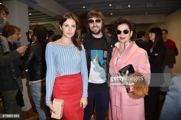 Dasha Zhukova Francesco Vezzoli and Bianca Jagger while attending the Prada Resort 2018 Womenswear Show in Osservatorio on May 7 2017 in Milan Italy