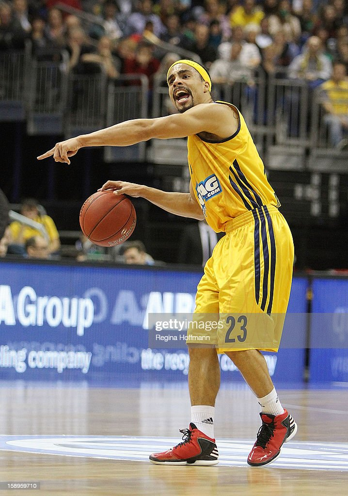 Dashaun Wood #23 of Alba Berlin in action during the 20122013 Turkish Airlines Euroleague Top 16 Date 2 between Alba Berlin v CSKA Moscow at O2 World...