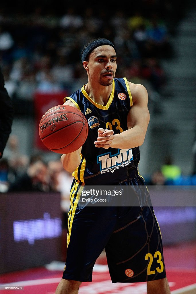 Dashaun Wood #23 of Alba Berlin in action during the 20122013 Turkish Airlines Euroleague Top 16 Date 8 between Real Madrid v Alba Berlin at Palacio...