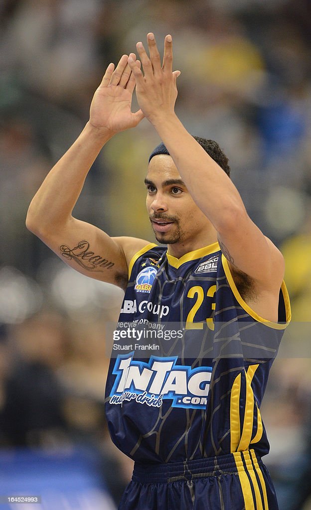 DaShaun Wood of Berlin celebrates at the end of the Beko BBLTop Four final game between Ratiopharm Ulm and Alba Berlin at O2 World on March 24 2013...